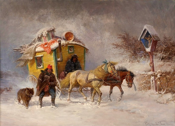 Зима. Бродячие артисты. Автор: Фриц ван дер Венн (1873-1936).