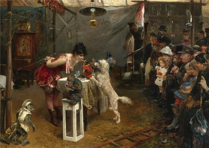 Дрессировщица. Автор: Пол Фридрих Мейерхайм (1842-1915).