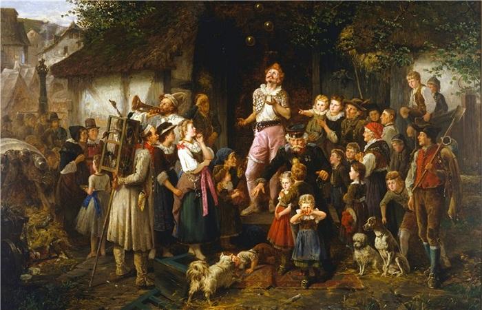 Жонглер. Деревенская ярмарка. Автор: Фриц Бейнке (1842-1907).