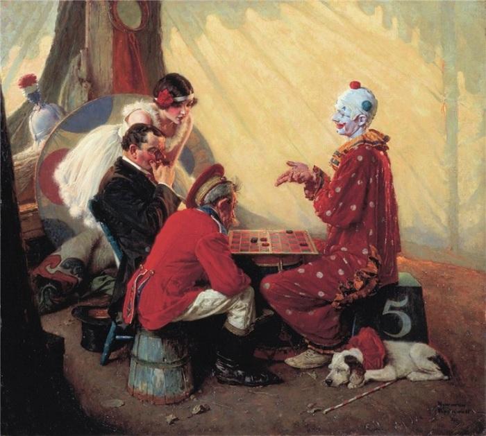 Игра в шашки. Автор: Норман Роквелл.