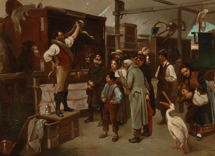 Бродячий цирк. (1870-1880 гг.). Автор: Адольф Эрнст Мейсснер (1837-1902).