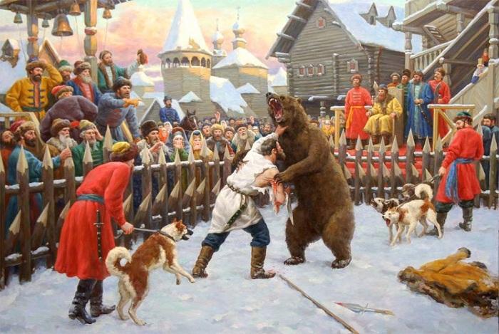 Медвежьи потехи на Руси.