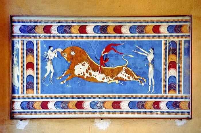 Акробаты с быком. Фреска Кносского дворца.