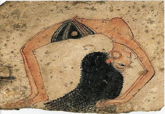 Изображение египетской акробатки на известняковом черепке. Туринский музей. XIX династия.