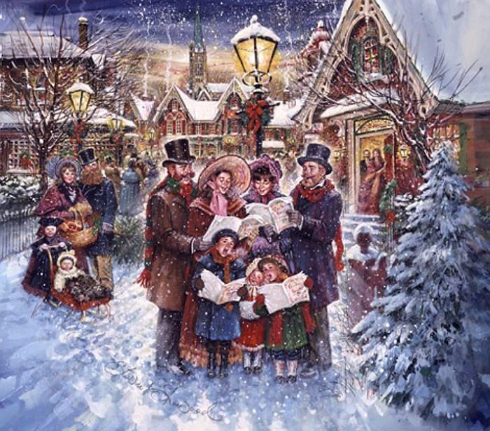 Рождественские открытки с колядующими