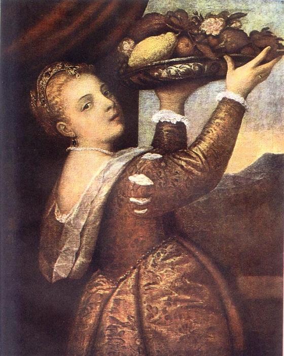 «Девушка с подносом». Автор: Тициан Вечеллио.