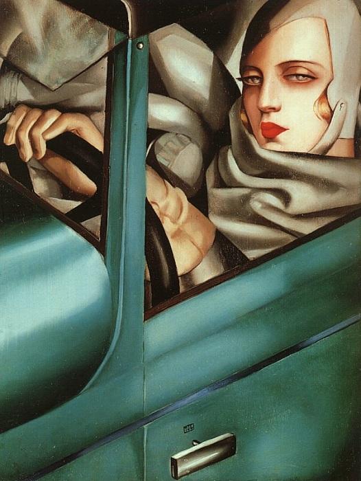 Автопортрет в зеленом Бугатти.(1925). Автор: Тамара де Лемпицка.
