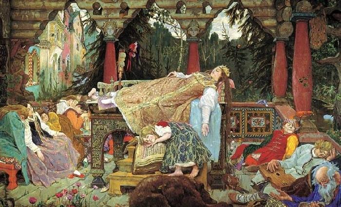 Спящая царевна.  Фрагмент. (1900-1926 г.г.)  Автор: Виктор Васнецов.