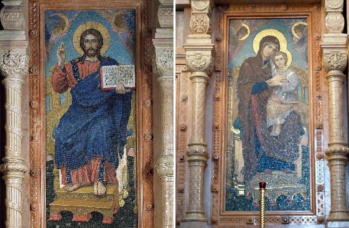 Мозаичные иконы собранные по эскизам Васнецова.  Храм Спаса на Крови в Санкт-Петербурге.