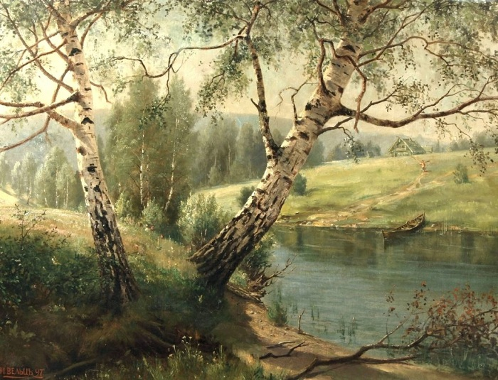 «Березы на берегу реки». (1897год). Автор: Иван Вельц.