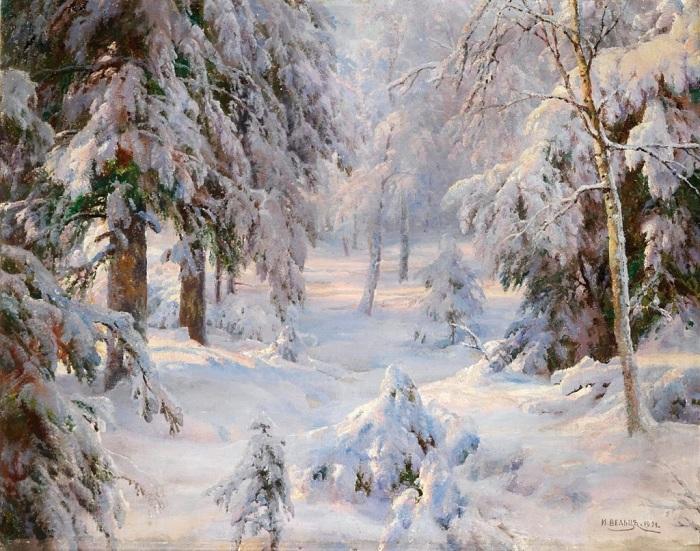 «Зимнее солнце». (1919 год). Автор: Иван Вельц.