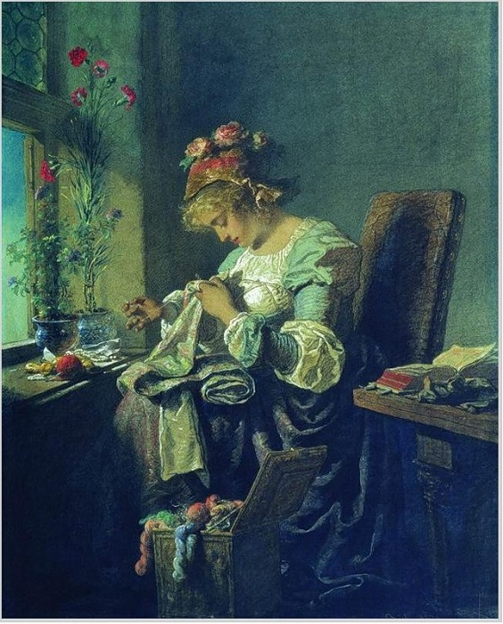 Вышивальщица. (1878). Автор: М. Зичи.