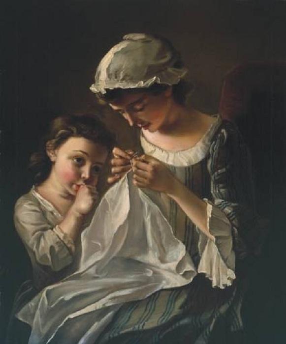 Вышивающая женщина. (1750). Автор: Ф. Мерсьер.