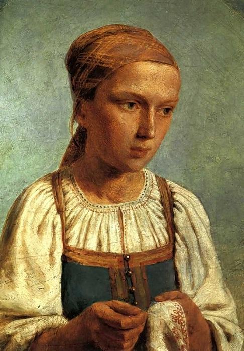 Крестьянская девушка за вышиванием. Автор: А. Г. Венецианов.