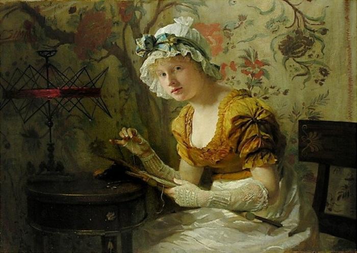 Юная вышивальщица. Автор: F.Zimm.