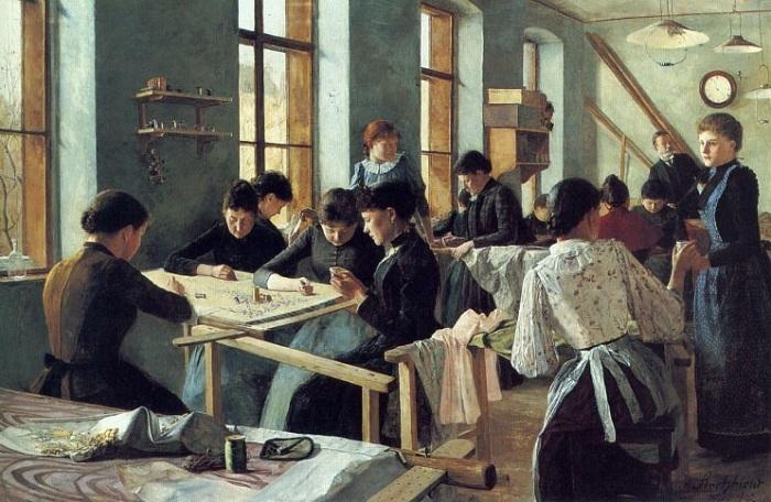 Леди, вышивающие в цехе. 1892. Автор: Heinrich Strehblow.