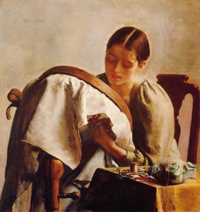 Молодая девушка вышивает. (1890-1894). Автор: Чарльз Фредерик Ульрих.