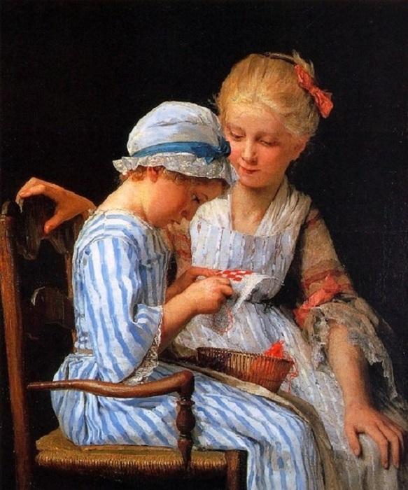Маленькие вышивальщицы. Автор: А.Анкер.