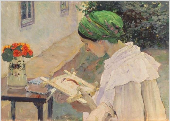 Портрет Е.П.Нестеровой за вышиванием. Автор: Нестеров М. В.