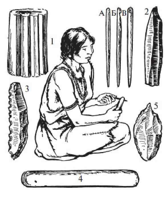 Женщина за изготовлением костяной иглы.