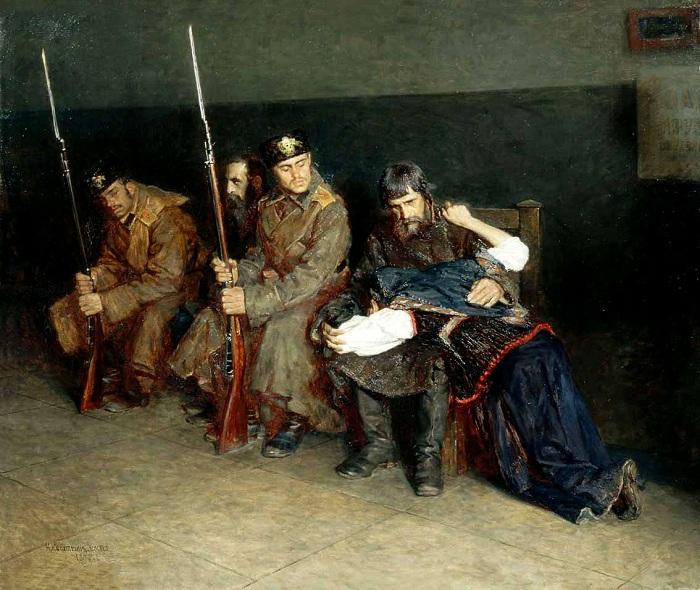 «В коридоре окружного суда».  (1897 год).  Автор: Касаткин Николай.