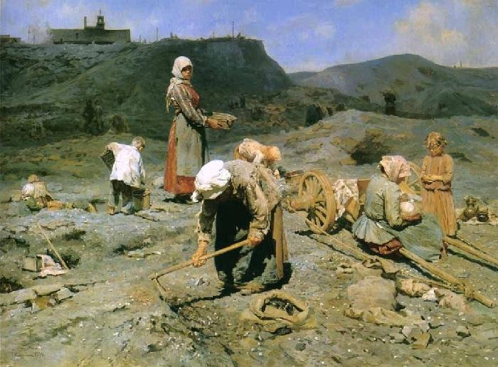 «Сбор угля бедными на выработанной шаÑте». Автор: Николай Касаткин.