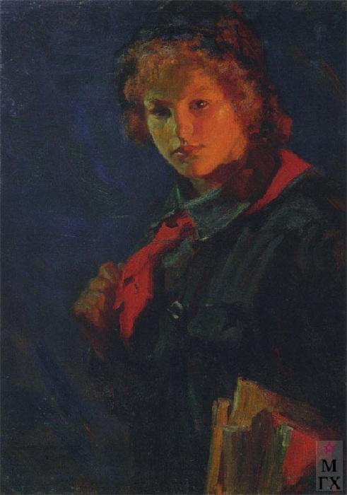 «За учёбу. Пионерка с книгами». (1925 год). Автор: Николай Касаткин.