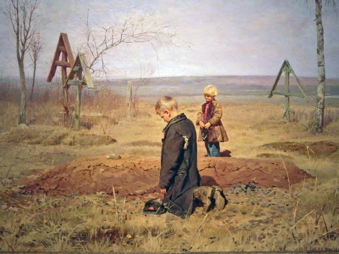 «Осиротели». (1891 год). Автор: Николай Касаткин.