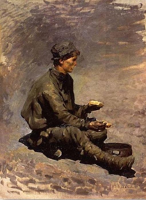 «Сидящий шахтер». (1890-е годы). Автор: Николай Касаткин.