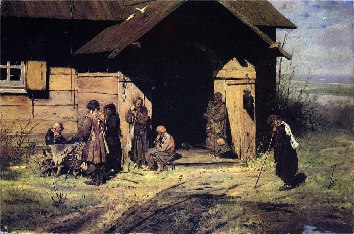 «Нищие на церковной паперти». (1883 год). Автор: Николай Касаткин.