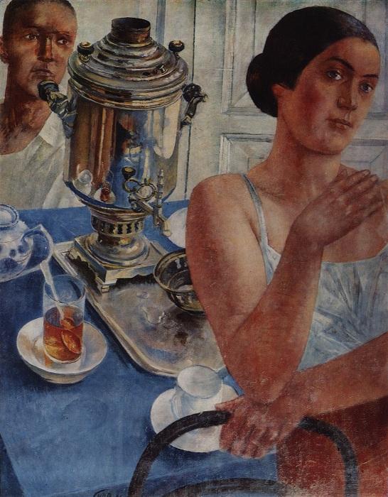 За самоваром. (1926г.) (Государственный Русский Музей).  Автор: Кузьма Петров-Водкин.