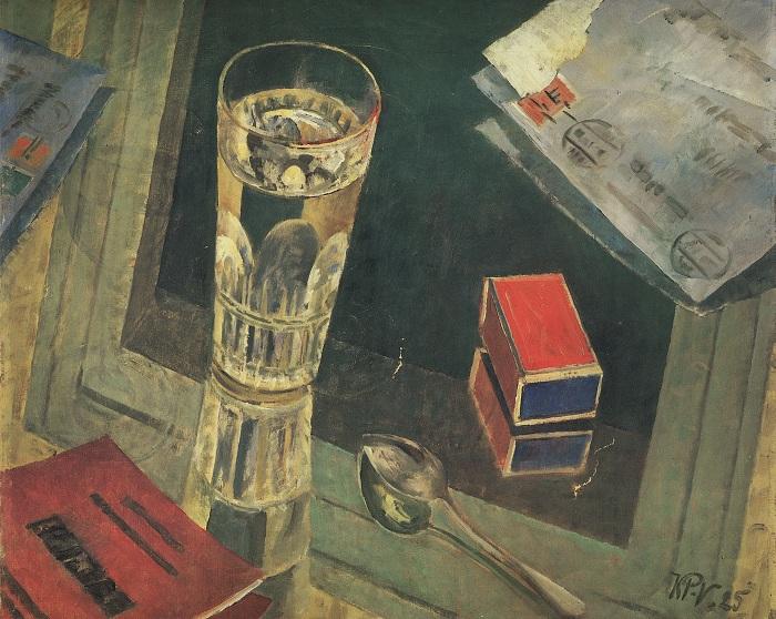 Натюрморт с письмами. (1925г.). (Частная коллекция).  Автор: Кузьма Петров-Водкин.