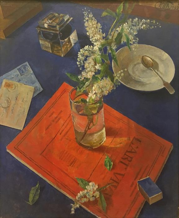 Черемуха в стакане. (1932г.). (Государственный Русский Музей).  Автор: Кузьма Петров-Водкин.