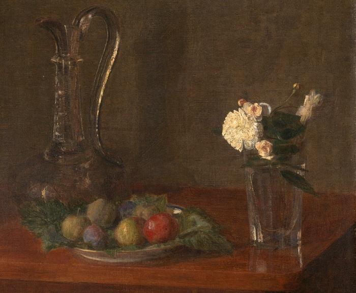 Натюрморт со стеклянным кувшином, фруктами и цветами, 1861 (Лондон, Национальная галерея). Автор: Анри Фантен-Латур.