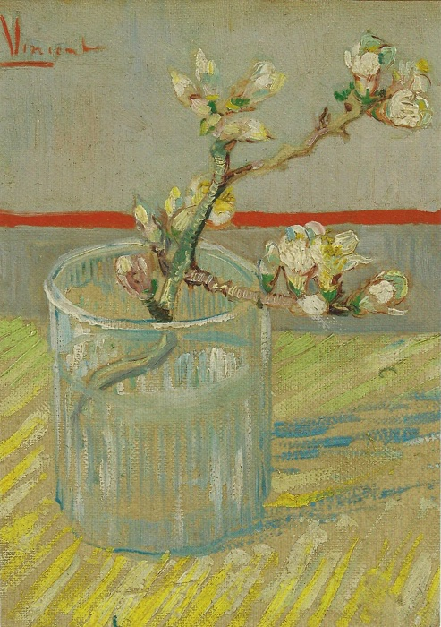 Ветка, цветущего миндаля, в стакане. (1888).(Museum, Amsterdam) . Автор: Винсент Ван Гог.