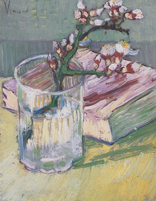 Цветущая ветка миндаля в стакане и книга. (1888). (Частная коллекция). Автор: Винсент Ван Гог.