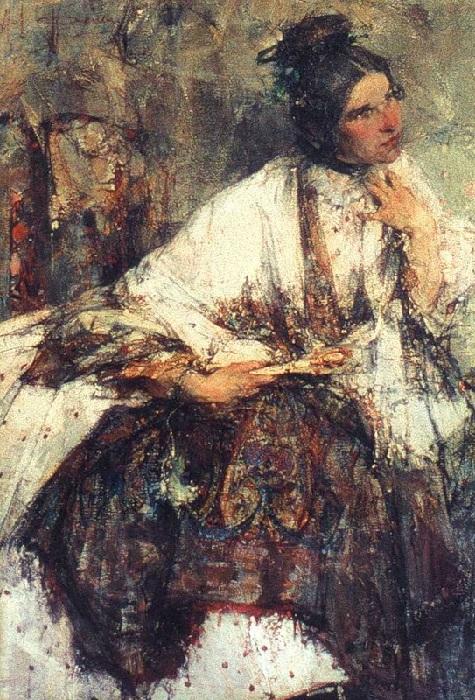 Н.М. Сапожникова (в шали). 1908. Автор: Николай Фешин.