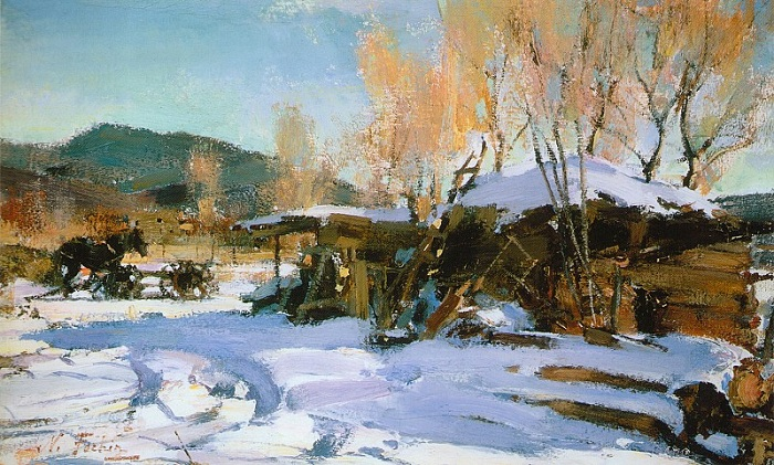 «Зимний пейзаж. Таос». (1927—1933). Автор: Николай Фешин.