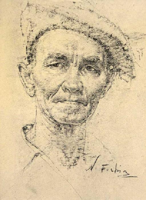 Николай Фешин. «Автопортрет». Графический рисунок.