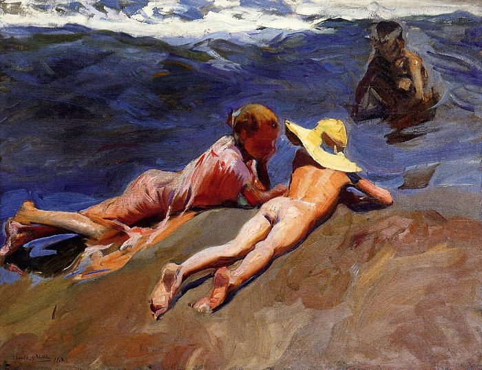 «На пляже».  Автор: Хоакин Соролья-и-Бастида.