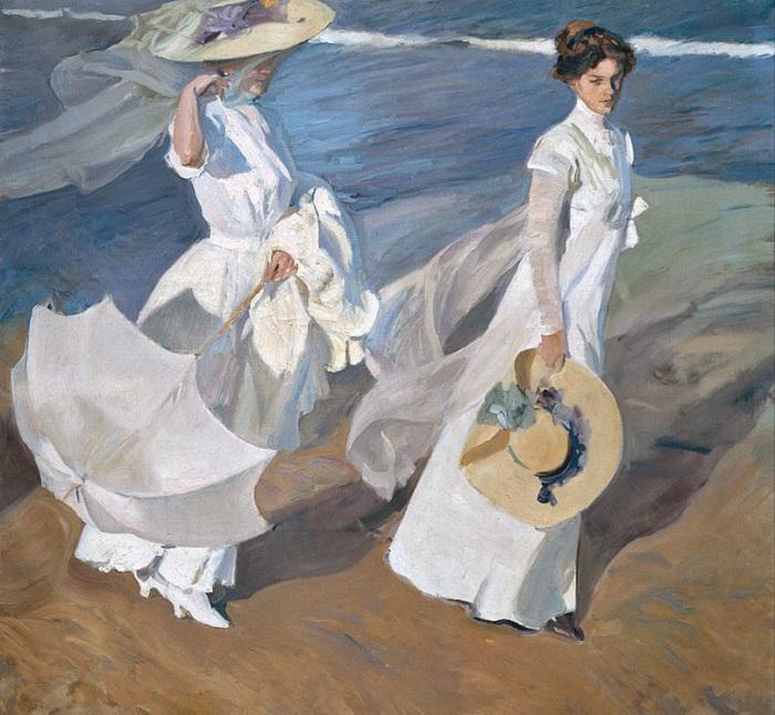 «Прогуливаясь вдоль берега моря». (1909 год). Автор: Хоакин Соролья-и-Бастида.