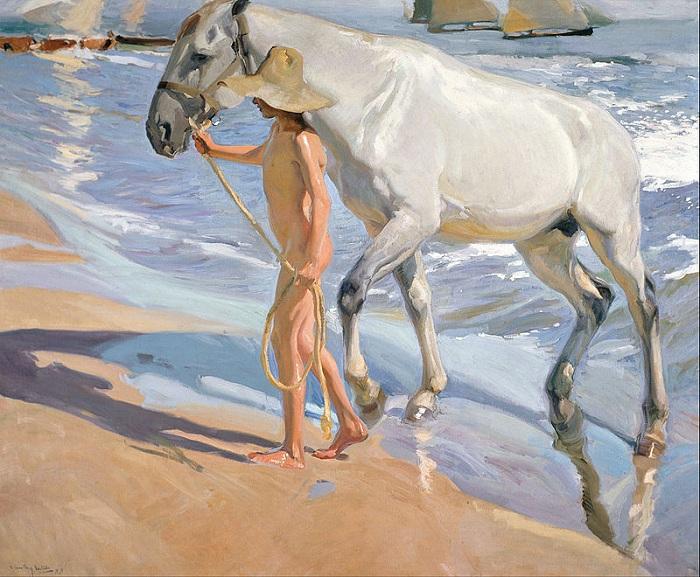«Купание лошади». Автор: Хоакин Соролья-и-Бастида.