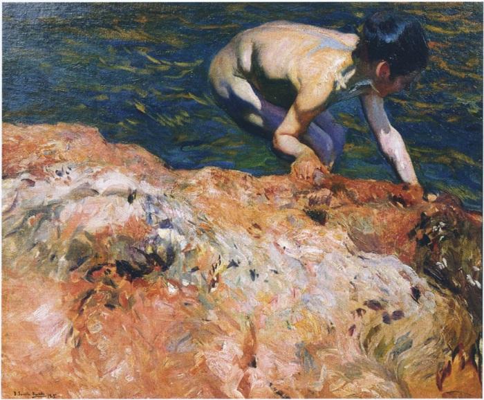 «Поиск моллюсков». (1905год). Автор: Хоакин Соролья-и-Бастида.