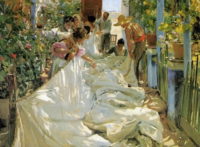 «Починка паруса». (1896 год). Автор: Хоакин Соролья-и-Бастида.