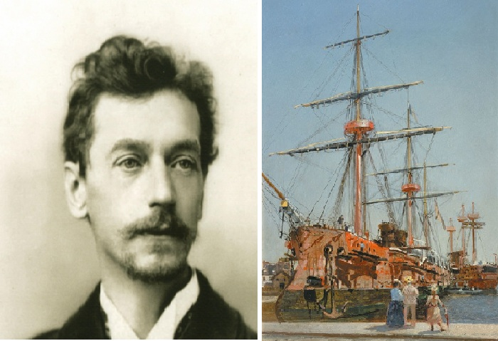 """фото Николая Гриценко. /«Броненосный крейсер I ранга """"Адмирал Корнилов"""" во время постройки в Сен-Назере, в Бретани». (1889)."""