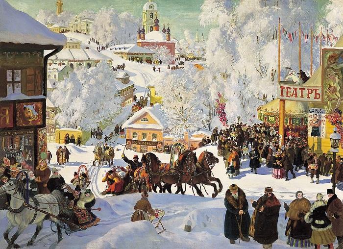 «Масленица». 1919 год. Художник Б. М. Кустодиев.