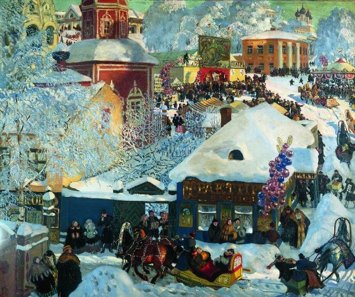«Зима. Масленичное гулянье». Художник Б. М. Кустодиев.