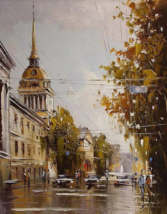 Городские пейзажи от художника Юрия Хованского.