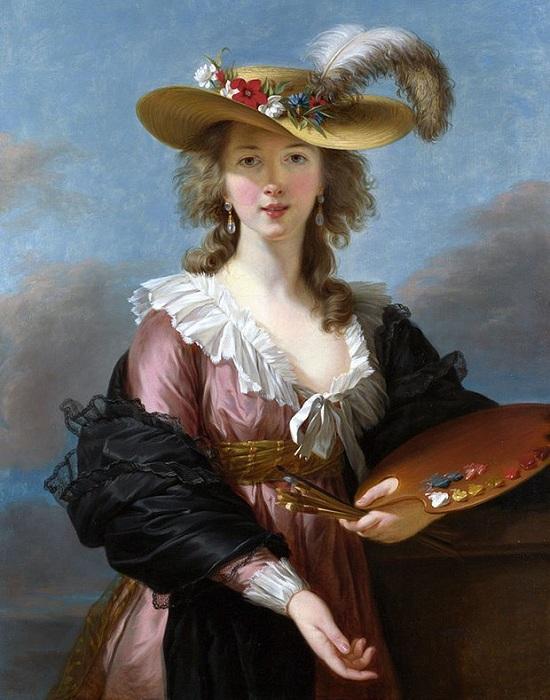 Автопортрет в соломенной шляпе 1782 г. Автор: Элизабет Виже-Лебрён.