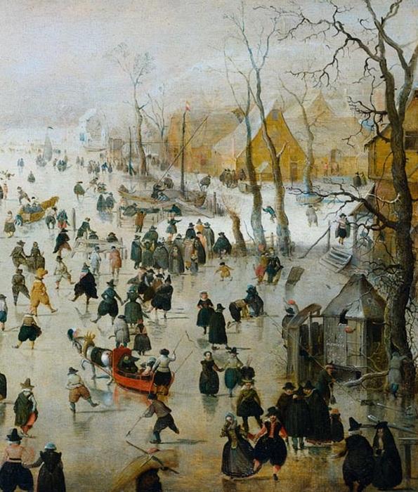 Зимний пейзаж с жителями, катающимися на льду. (Фрагмент 3)